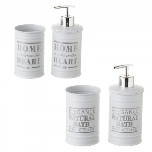 "SET BAÑO 2/M PP/METAL BLANCO ""ELEGANCE\"" Y \""HOME HEART\"""