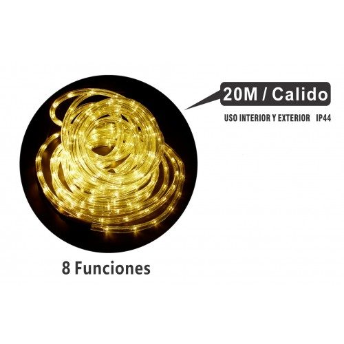 MANGUERA 20 MTS LED MULTIFUNCIONES INTERIOR/EXTERIOR IP44 LUZ CALIDO