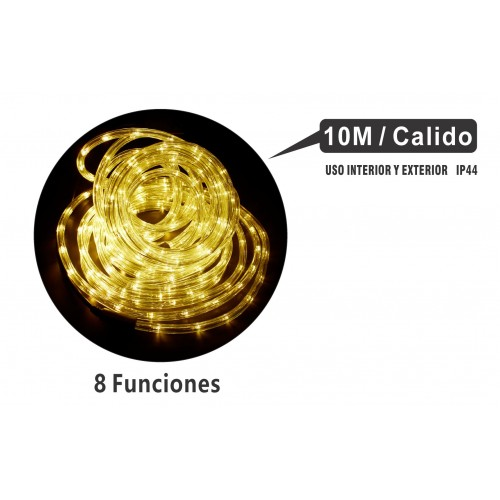 MANGUERA 10 MTS LED MULTIFUNCIONES INTERIOR/EXTERIOR IP44 LUZ CALIDO