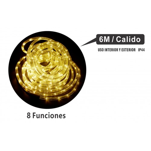 MANGUERA 6 MTS LED MULTIFUNCIONES INTERIOR/EXTERIOR IP44 LUZ CALIDO