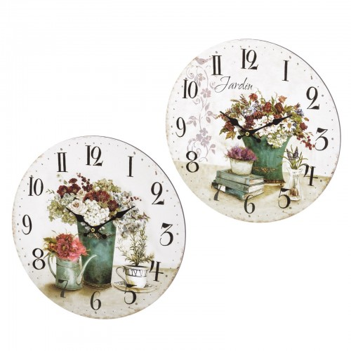 RELOJ PARED MADERA FLOWERS 2/M 33,80 X 33,80 X 3,50 CM
