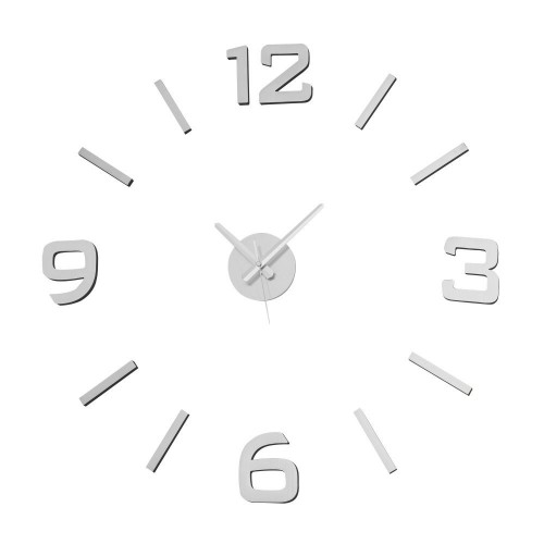 RELOJ WALL STICKER PLATA 60 X 60 CM